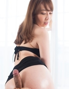 Long-haired hottie Aya Kisaki gives a great assjob in POV after stripping/posing
