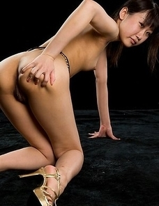 Karina Oshima flashes her bush during an intense thighjob sequence in an HQ gallery