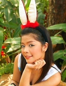 Pang Piyatida has big rabbit ears on her head and she just looks like a naughty girl who wishes to be spanked.