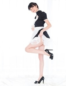 Long-legged maid Anna Matsuda showing her perfect legs in multiple positions
