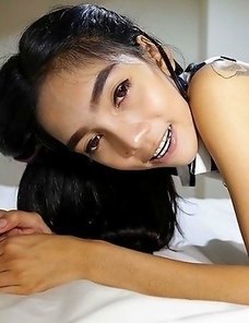 Skinny Thai girl Game with hairy pussy learns how to suck white cock