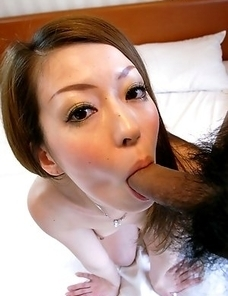 Yuu strips her clothes to show her perfect tits and take a cock inside her hairy pussy