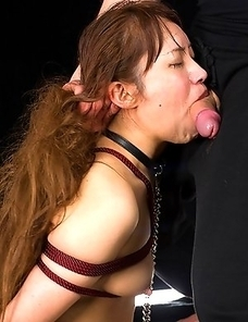 Yukari Toudou is tied up and used as a face fuck toy until she gets a cumshot covering her face.