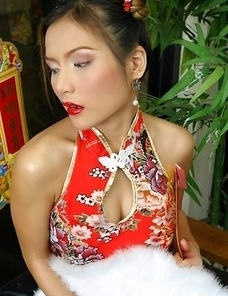 Check out lustful Vanessa Wang in her sexy outfit. She is chilling in her living room and just feeling extremely horny.