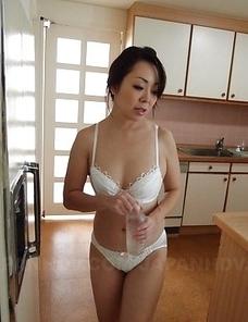 Hot Yuna Yamami in white lingerie sucks cock