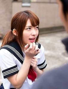 Schoolgirl Mari Rika sucking two cock